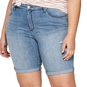 NWOTHigh-Rise Double-Cuff Bermuda Jean Shorts